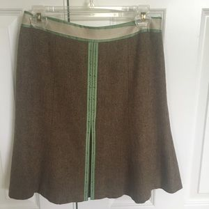 Ann Taylor Loft Beaded Olive Twill Skirt